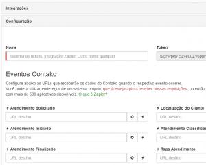 tela de configurações dos webhooks no Contako