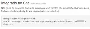 código para instalar o contako em seu site