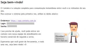 email com informações para acessar o contako