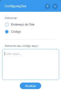 inserir codigo do Chat Online para Wix