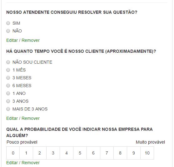 Perguntas da pesquisa de atendimentos Contako